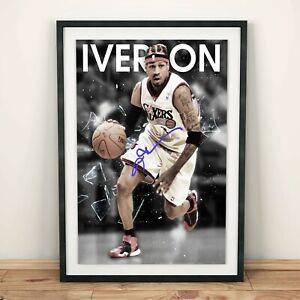 Allen Iverson Philadelphia 76ers NBA Autographed Poster Print. Perfect Gift