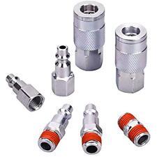 "Air Tool Coupler Plug Kit, 1/4"" Npt Fittings Industrial Type I/M, 7 Piece W/"
