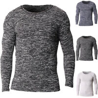Mens Crew Neck Bodybuiding Tops Long Sleeve Thermal Underwear Jumper Tops Shirts