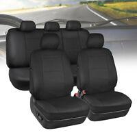 9Pcs Universal PU Leather Car Seat Covers Cushions 5 Seat Full Protect Black BO