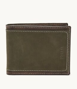 Fossil Holt Traveller Wallet Olive color Leather with stylish stiches bill fold