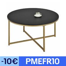 Table basse ronde de salon cadre en métal doré et plateau en MDF