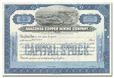 Anaconda Copper Mining Company Stock Certificate