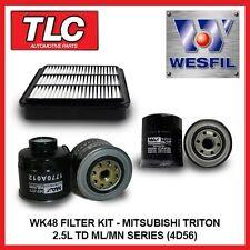 WK48 Air Oil Fuel Filter Kit Mitsubishi Triton 2.5L TD ML MN Diesel 4D56 4D56T