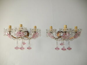 1920 French Pink Fuchsia Murano Flowers & Drops 3 Light RARE Sconces