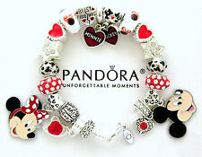 Authentic PANDORA Bracelet Disney Mickey Minnie European Charms Silver New
