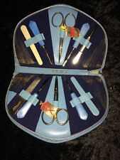 Manicure Set Boxed Besto Made in Germany 1950's Ground Leather Zippered Case