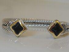 $1350 DAVID YURMAN 18K GOLD, SILVER DOUBLE CABLE QUATREFOIL BLACK ONYX BRACELET