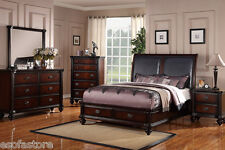pine bedroom set. Modern 4Pc Dark Wood Finish Bedroom Est King Size Bed Mirror Dresser  Nightstand Pine Sets eBay
