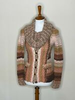 Anthropologie Sleeping on Snow XS Cowl Neck Sweater Brown Pink Long Sleeve Knit