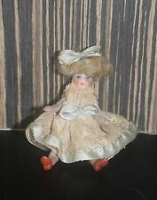 Miniature Victorian Painted Bisque Doll  For Dolls House