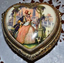VINTAGE PORCELAIN LID COURTING COUPLE METAL HEART SHAPED MUSIC BOX, TRINKET BOX