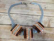 ANTHROPOLOGIE NECKLACE STATEMENT BLOCKS RHINESTONES ROPE BEADS SQUARE #1467