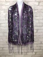 "Purple and Black Velvet Burnout Scarf Semi Sheer Paisley Metallic Detail 65X21"""
