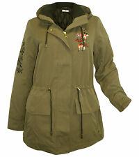 Winter Parka AJC Gr 38 khaki Longjacke Stickerei Kurzmantel Kapuze neu