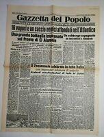 N842 La Une Du Journal Gazetta del popolo 26 octobre 1942 Battaglia impegnata