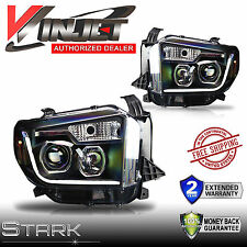 14-16 TUNDRA LED Light DRL Headlights Head Lamps BLACK / CLEAR - Pair