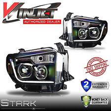 14-16 TUNDRA LED Light DRL Headlights Head Lamps BLACK / CLEAR - Pair