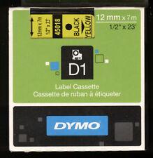 1x DYMO D1 label cassette 12mm Farbband 45018 BLACK / yellow s0720580 für LABEL