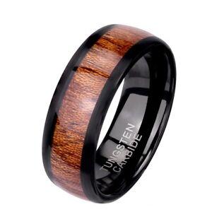 Brown Wood Inlay 8mm Black Tungsten Carbide Wedding Band Engagement Ring Sz 9-13
