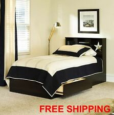 Bookcase Headboard With Storage Drawers Twin Platform Bed Modern Cinnamon Cherry