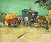 Art Poster Print on Canvas Gypsy Camp near Arles Vincent Van Gogh Giclee Small