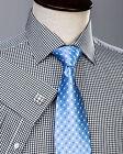 Classic Men's Black Dress Shirt Plaids & Checks Formal Business French Cuff Top