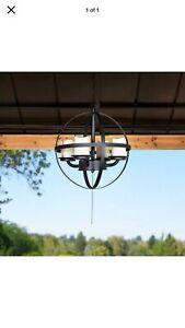 Sunjoy Sphere Outdoor Battery Powered Four-Light LED Chandelier