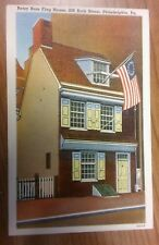 Betsy Ross Flag House Postcard - Vintage 1940's Philadelphia Pennsylvania USA