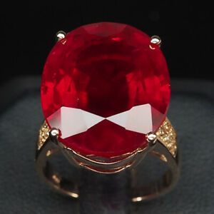 RUBY BLOOD RED OVAL 24.20 CT. SAPP 925 STERLING SILVER ROSE GOLD RING SZ 7 WOMEN