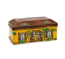 "VINTAGE HOUSE SHAPED CHOCOLATE TIN ""TREETS"" COTTAGE STYLE WITH SHUTTER WINDOWS"