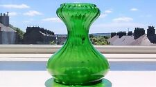 Victorian Green Rib Moulded Glass Tye Style Hyacinth Bulb Vase 15 cm high