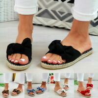 NEW!Womens Slip On Sandals Bow Flat Mule Summer  Espadrille Shoes Sizes
