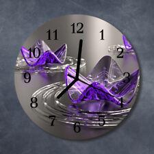 Glass Wall Clock Kitchen Clocks 30 cm round silent Glass Flowers Purple