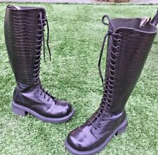 Vintage Dr Martens 9730  black reptile leather boots UK 5 Made in England EU 38