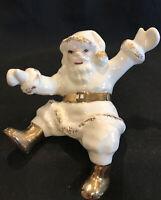 Vintage Ceramic Christmas White & Gold Jolly SANTA CLAUS Shelf Sitter RARE MCM