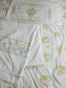 Lady Pepperell Full Sheet Set 3 pcs Basket Floral Butterfly Cottage Chic 50/50