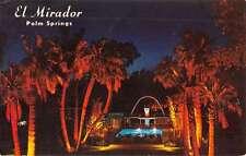 Palm Springs California El Mirador Hotel Pool At Night Vintage Postcard K31412