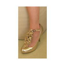 Timeless Vintage Gold Cherub High Heeled Rose T Bar Shoe UK6