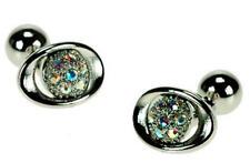 Mens Clear Crystal Oval Fashion Wedding Cufflinks & Gift Box By Onyx Art