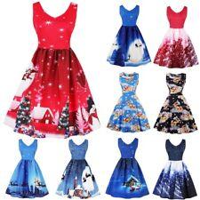 AU Plus Size Womens Santa Christmas Party Dress Vintage Xmas Swing Skater Dress