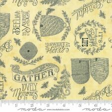"Yellow Words 44"" quilt fabric, Bee Joyful, Moda, 19873-11,  Sold by the 1/4 yard"