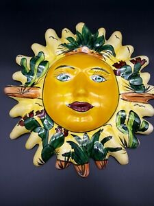 Mexican Talavera Ceramic Lily Sun Face Wall Decor Hanging Handpainted Folk Art