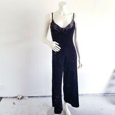 Vintage Betsey Johnson Black Crushed Velvet Jumpsuit Size Medium