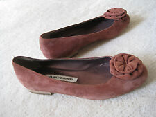 New MANOLO BLAHNIK Rusty Brown Suede  BALLET SKIMMERS FLATS SHOES Size 9 (39)