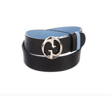 Gucci Women's 1973 Blue And Black Leather Reversible Belt Size 85B