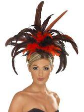 Burlesque Chapeau avec Plume Danseuse Noir Rouge Serre-Tête 20er Charleston