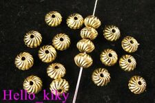 100Pcs  Antiqued gold plt Screw bicone spacer beads A473