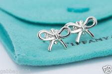 Tiffany & Co. Sterling Silver Ribbon Bow Stud Earrings w/ Pouch
