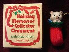 Holiday Memories Collector Ornament - Gray Christmas Kitten red knitted stocking